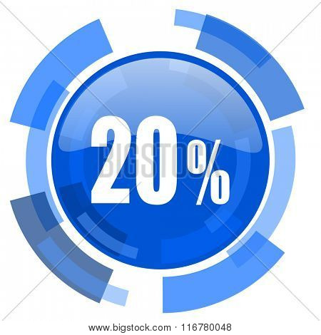 20 percent blue glossy circle modern web icon