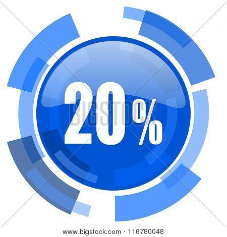 20 percent blue glossy circle modern web icon