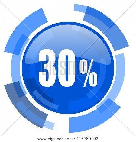 30 percent blue glossy circle modern web icon