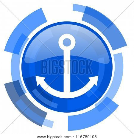 anchor blue glossy circle modern web icon