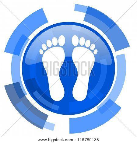 foot blue glossy circle modern web icon