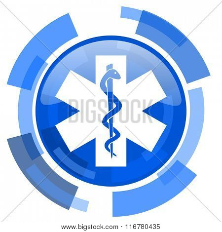 emergency blue glossy circle modern web icon