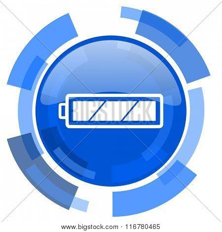 battery blue glossy circle modern web icon