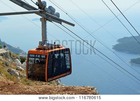 Dubrovnik Cable Car Takes Tourists from the old town to the top of mount srd and a spectacular panor