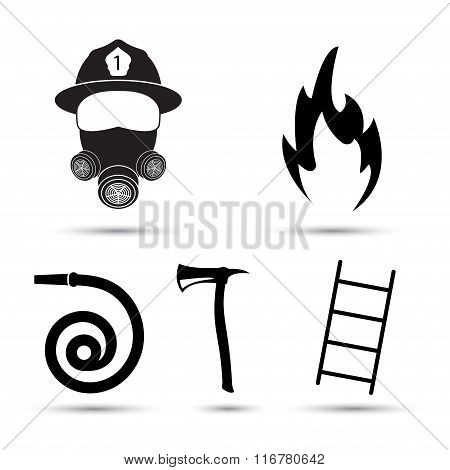 Fire fighter equipment icons vector set isolated on white background