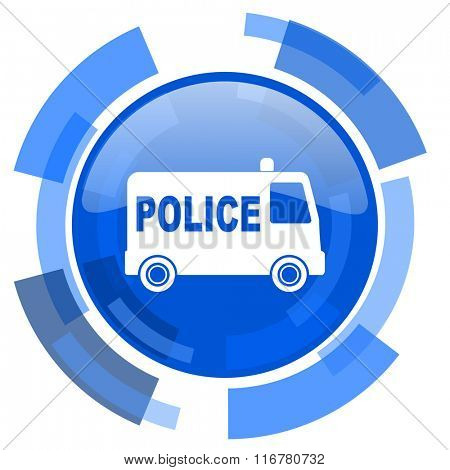 police blue glossy circle modern web icon