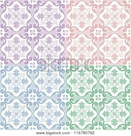 Traditional ornate portuguese and brazilian tiles azulejos. Vector illustration. 4 color variations