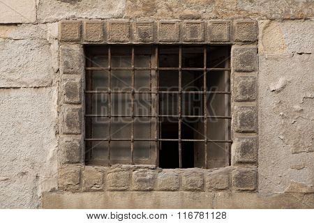 Renaissance barred window in Bergamo, Lombardy, Italy.