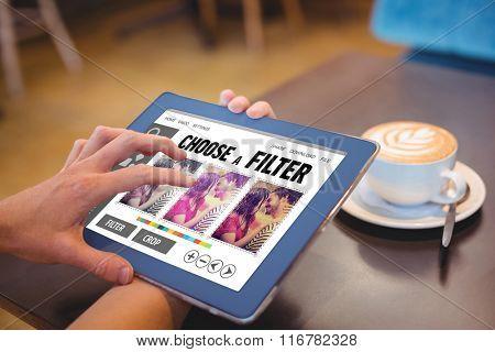 Smartphone app menu against close-up of digital tablet and coffee on table Close-up of digital tablet and coffee on table in the coffee shop