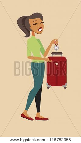 Woman Weighing Her Suitcase
