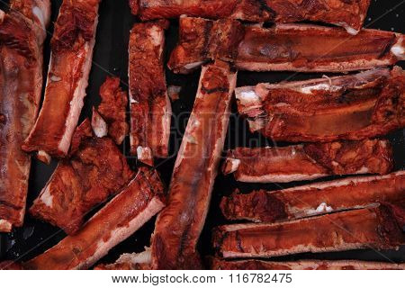 Smoked Pig Ribs Background