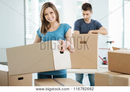 Young Couple Moving In Their New House