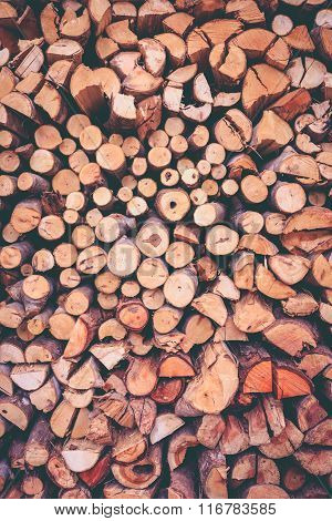Stack Of Firewood, Wood Background Texture. Layer Of Stored Cut Timber.