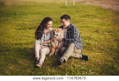 Beautiful Couple With Dog