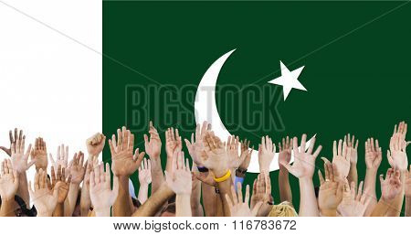 Pakistan National Flag Group of People Concept