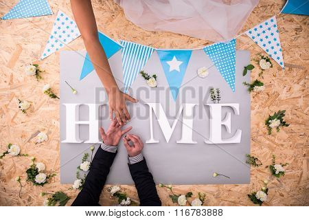 Wedding Ring And Home Word