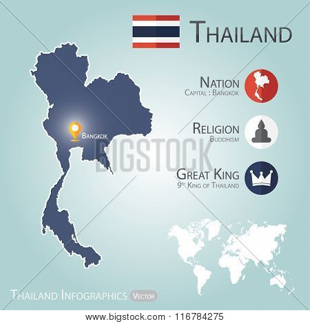Thailand Infographics ( Map With Navigator Pin At Bangkok ( Capital Of Thailand ))