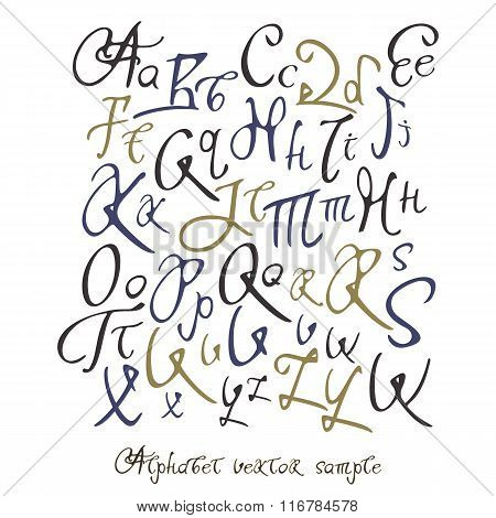Hand-written full alphabet