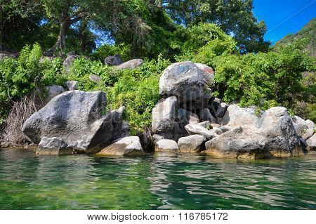 Rocky Coast Of The Volcanic Caldera Lake Coatepeque In Salvador