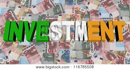 Investment text with Irish flag on Euros illustration