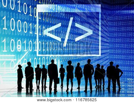 Binary Code Digital Internet Business Technology Concept