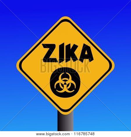 Zika virus warning sign on blue illustration