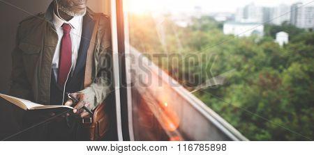 Businessman Transportation Train Urban Career Concept