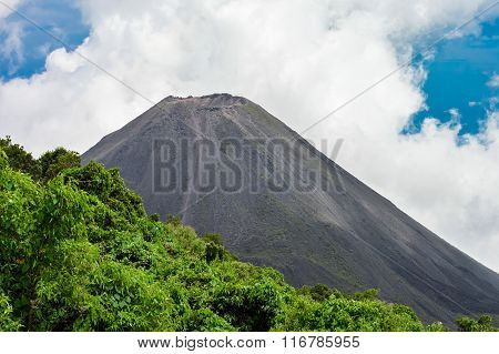 The Perfect Peak Of The Active And Young Izalco Volcano Seen From A View Point In Cerro Verde Nation