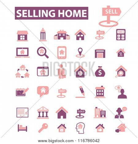 selling home, real estate, agent, agency, buildings icons, signs vector concept set for infographics, mobile, website, application