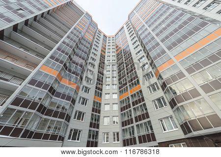 Facade of a modern multi-storey apartment building