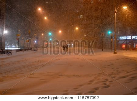 streets of New York in snow blizzard