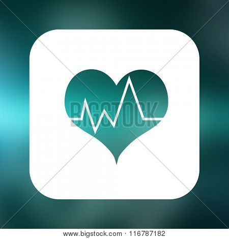 Heartbeat with green background against chemical structure in blue and black