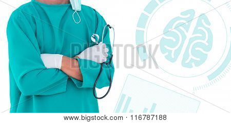 Midsection of male surgeon standing arms crossed against medical app