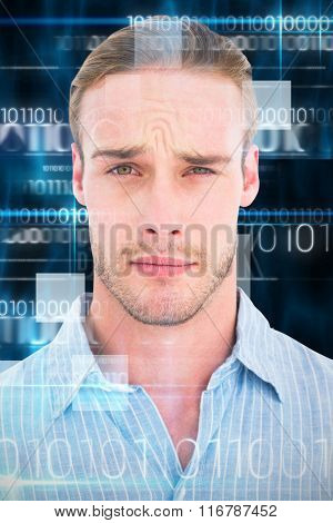Portrait of doubtful man in shirt against blue technology design with binary code