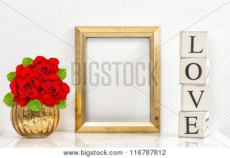 Golden Frame Red Roses. Mock Up Space For Picture