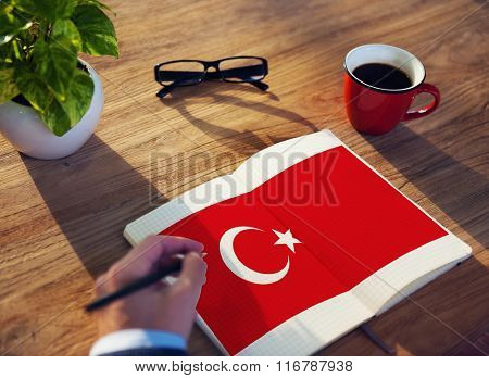Turkey National Flag Studying Reading Book Concept