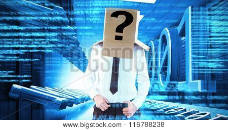 Anonymous businessman with hands in waistband against blue texts