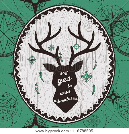 Vector hand drawn poster with deer head silhouette and quote.