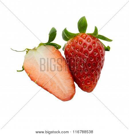 Fresh Strawberries Cutted Isolated On White Background