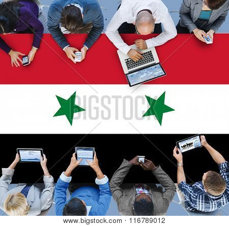 Business Team Connection Meeting Syria Flag Concept