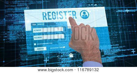 Businessman hand pointing something against blue matrix and codes