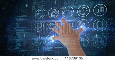 Woman presenting with her hand against blue matrix and codes