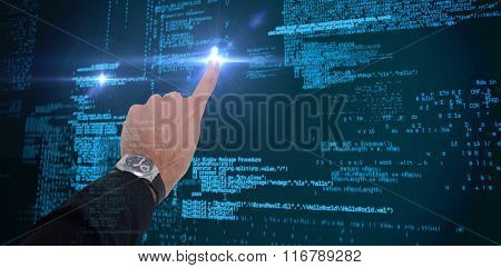Businessman hand with watch pointing something against blue codes
