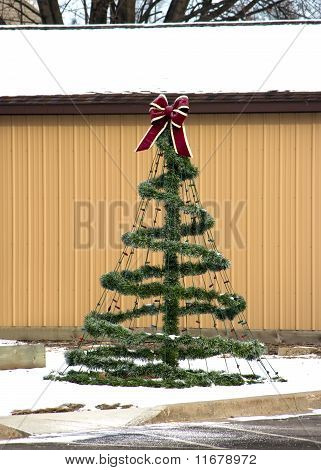 A Decorative Wire Frame Christmas Tree