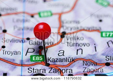 Kazanlak pinned on a map of Bulgaria