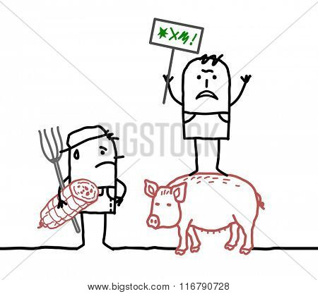 vector cartoon pork producers protesting against agriculture business