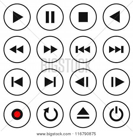 Black And White Multimedia Control Button/icon Set