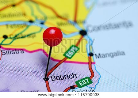 Dobrich pinned on a map of Bulgaria