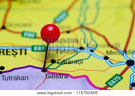 Silistra pinned on a map of Bulgaria