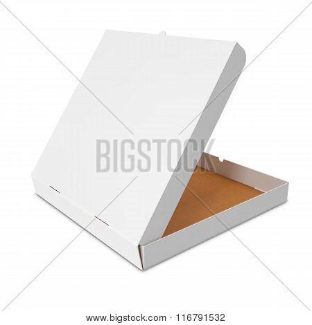 Open white box for pizza.